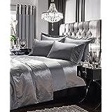 Luxurious Duvet Cover Set With Velvet Panel Super King Size Bed Silk Designer Style , Gran Reno Silver