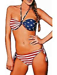 Maillot de bain femme 2 pièces bikini bandeau réversible Drapeau américain USA