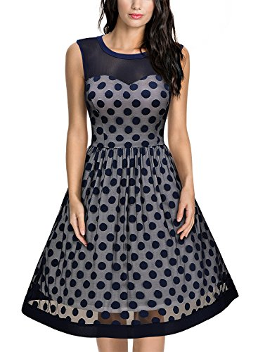 Miusol Abendkleid Retro 50er Jahre Rockabilly Ballkleid in Blau