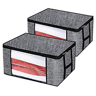 homyfort 2 Stück Aufbewahrungstasche für Bettdecken und Kissen - Kleidung Lagerplätze, Bettwäsche, Decken Organisator Lagerbehälter, Haus bewegen Tasche, 60 x 45 x 30cm, 81L, Schwarz Leinen, XAR60M