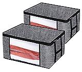 homyfort Set di 2 Pieghevole organizzatore Armadio - scatole Armadio in Tessuto, Sacchetto di Vestiti Bagagli - Spazio Borsa Saver per la memorizzazione di Abbigliamento, Piumini, Lino Nero, XAR60M