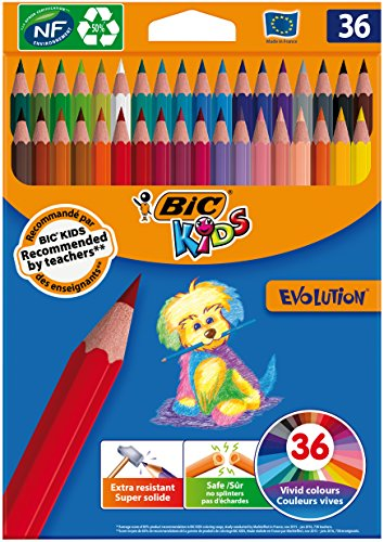 BIC Kids Evolution ECOlutions Lápices para Colorear - colores Surtidos, Blíster de 36 unidades