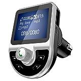 Transmisor FM Bluetooth 4.1 para Coche, Mini Cargador de Coche, Reproductor MP3 Coche, Adaptador de Radio con Pantalla 1.44 Pulgadas, Puertos USB Dobles, QC3.1, Puerto de Audio DE 3.5 mm y Tarjeta TF