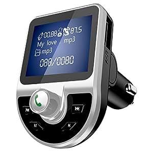 Transmetteur FM Bluetooth 4.1 Kit de Voiture sans Fil Mains Libre Adaptateur Radio Chargeur de Voiture avec Double USB Ports QC3.1 Fente Carte TF et 3.5mm Port Audio pour Smartphone Tablette
