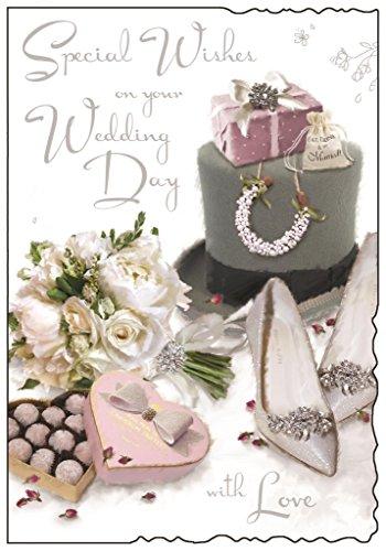 Grußkarte (jj8656)–Hochzeit–Special Wishes–Top Hat, Schuhe und Blumenstrauß–Samt Reichweite–geprägt, Flitter und Folie - Blumensträuße Schuhe