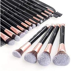 Anjou Pinceaux Maquillages Professionnels Kit de 16pcs, Poils Synthetiques Doux et Sans Cruauté, Pochette Elegante Cuir PU Incluse, Makeup Brushes Pinceaux Maquillages Teint et Yeux - Or Rose