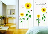 UberLyfe Yellow Sunflowers Wall Stickers Size 4 (Wall Covering Area: 120cm x 105cm) - WS-000950