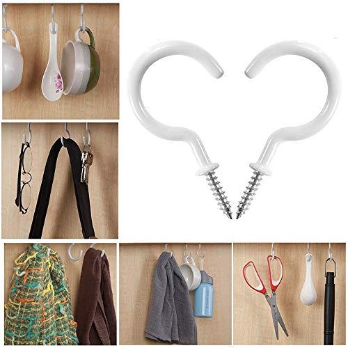 Amhomely® - 10 ganchos de acero inoxidable/ganchos para armario de techo - Ganchos para vasos, ganchos para atornillar, para colgar plantas, vasos, utensilios de cocina, Beige