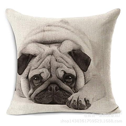 TBS mignon animal, chien, chiot, Idée Cadeau, coloré, housses de coussin, Tissu, Cute Pug, 45 (Pug Christmas Stocking)