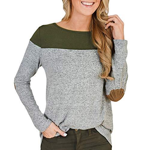 Blue-cashmere Crewneck Pullover (QUINTRA Frauen Langarm-Pullover T-Shirt Farbblock Zurück Button Unregelmäßiger Saum Blusen Tops)