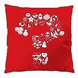 A.N.T. Mario Items Kissen mit Füllung 28 x 28 cm Baumwollbezug level videospiel konsole super world, Farbe:Rot