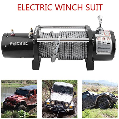 Heavy Duty Electric Winch 12v Capacity 13500lb (6124kgs) 4x4 Off Roading Vehicles Recovery Wireless Remote Control UTV Trailer Truck Car Test