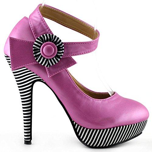 Visualizza Story sexy della caviglia Flower Strap banda stiletto della piattaforma pompa i pattini, LF30404 rosa brillante
