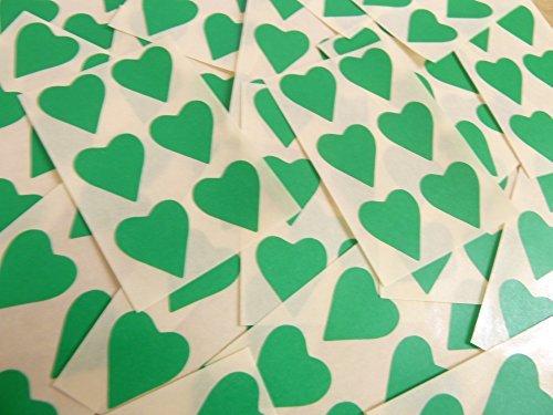 22x20mm Verde Medio Con Forma De Corazón Etiquetas, 90 auta-Adhesivo Código De Color Adhesivos, adhesivo Corazones para Manualidades y Decoración