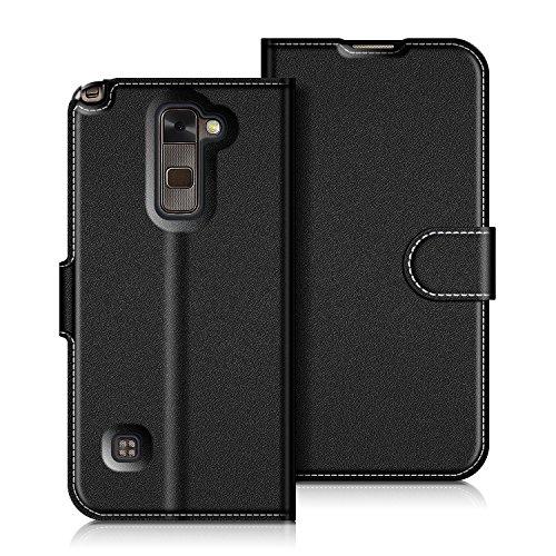 Coodio LG Stylus 2 Hülle Leder Lederhülle Ledertasche Wallet Handyhülle Tasche Schutzhülle mit Magnetverschluss / Kartenfächer für LG Stylus 2, Schwarz