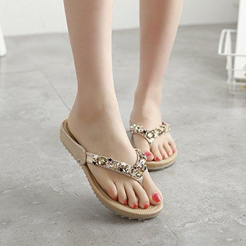 ZYUSHIZ Beach Sandalen Hausschuhe koreanische Version mit Flipflops Frau Gold