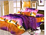 #7: Super India 3D Printed 180 TC Polycotton Double Bedsheet with 2 Pillow Covers - Multicolour