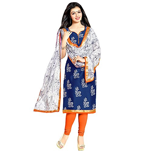 Fashion Vogue Women\'s Blue Colour Cotton Printed Dress Material For Girls New Collection