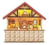 Small Foot Holz, feingearbeitete Details Einer Weihnachtsbäckerei im Inneren, mit Beleuchtung und 24 Schubladen mit Griffen für Kleinigkeiten Adventskalender, Natur, 40.00 x 10.00 x 38.50 cm
