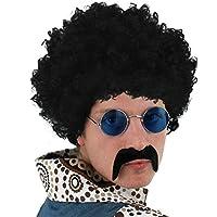 Perruque de cheveux afro noir style années 1970 avec une moustache noir et une paire de lunettes ronde bleue.