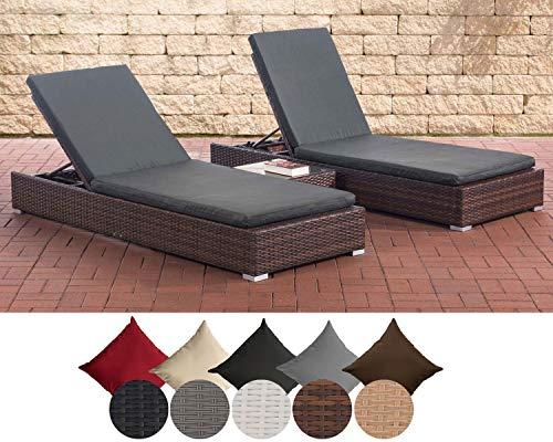 CLP 2X Polyrattan Sonnenliege NADI inkl. Tisch I 2X Wellnessliege mit Verstellbarer Rückenlehne I...