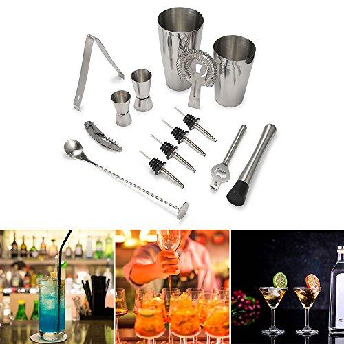 14 Stück Cocktail Shaker Set Professional Getränkemixer Kit 800ML Martini Mixer mit 2 Jigger 2 Liquor Pourers Edelstahl Bartenders Kit