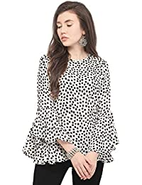 6a1371182caeff Serein Women s Crepe Polka Dot Top (White and Black top with Flute Bell  Sleeves