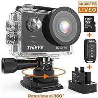 ThiEYE Action Cam T5 PRO Diretta Streaming 4K 60fps WiFi 20MP Rotazione 360° Grandangolare 170° 8 Volte Zoom 2.0'' Ultra HD Touch Screen 60M Subacquea con Telecomando 1100mAh Batterie Kit Accessori