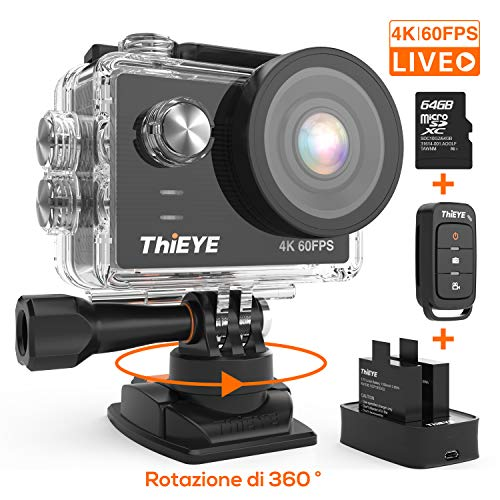 ThiEYE Action Cam T5 PRO Diretta Streaming 4K 60fps WiFi 20MP Rotazione 360° Grandangolare 170° 8 Volte Zoom 2.0\'\' Ultra HD Touch Screen 60M Subacquea con Telecomando 1100mAh Batterie Kit Accessori