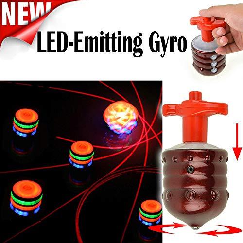 Egosy Flash Gyro Gyroscope Retro Bunte Lichter Musik LED Holz Gyroskop Kinder Spielzeug Geschenke Flash-Geschenk für Kinder