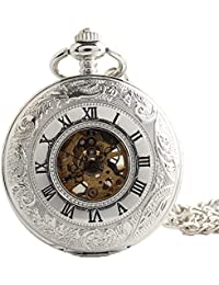 Maybesky Reloj de Bolsillo mecánico numberal Romano Abierto Doble Plateado con Cadena Caja de Regalo para cumpleaños Aniversario día Nav
