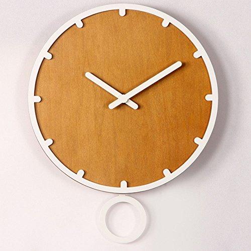 Orologio da parete orologio a pendolo originale ingegnoso orologio nordico orologio a pendolo con cerchio arrotondato orologio calmo 30 cm 12 pollici per soggiorno camera da letto grigio bianco ( color : bianca )
