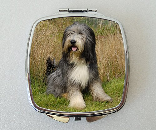 Starprint Sublimation Bearded Collie Dog Miroir de Poche Fantaisie Cadeau