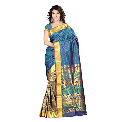 Varkala Silk Sarees Blended Saree (Hf1101Rmv_Teal Blue)