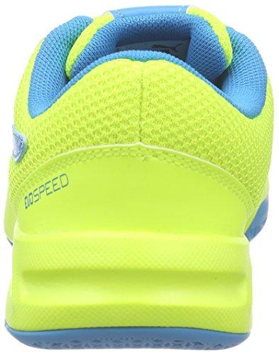 Puma Evospeed Indoor 5.4 Jr, Chaussures de football mixte enfant Jaune - Gelb (safety yellow-atomic blue-white 03)
