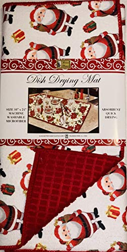 Durable Designs Microfiber Dish Drying Mat, 41cm x 60cm Absorbent Quick Drying, Fine Cushioned Fabric, Santa Claus
