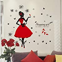 TCCSR Wall Sticker Woman Red Dress Girl Wall Sticker Glass Showcase Decor Poster Diy Floral Stikers