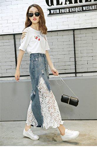 Frauen eleganter Knopf dünne Spitze Stitching Fish Tail Ganzkörperansicht aus gewaschenem Denim-Rock Blau