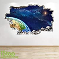 1Stop Graphics Shop SPACE WALL STICKER 3D LOOK - MOON PLANET GALAXY STARS BOYS BEDROOM Z312 Size: Large
