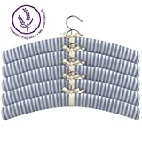 bonVIVO® Lavinia Gepolsterte Stoff-Kleiderbügel, Blau-Weiß Gestreift Mit Weichem Baumwollstoffüberzug Und Lavendelgeruch