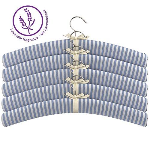 BonVivo® Lavinia Gepolsterte Stoff-Kleiderbügel, Blau-Weiß Gestreift Mit Weichem Baumwollstoffüberzug Und Lavendelgeruch - Gestreiften Weiß Stoff Und Blau