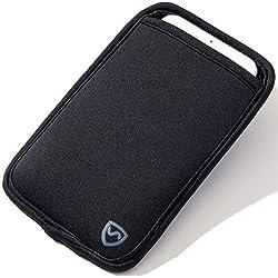 SYB - Funda de Neopreno para teléfono móvil - Protección contra Las radiaciones electromagnéticas para móviles de hasta 8,3 cm de Ancho, Negro