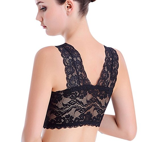 5a90f6b09f Fletion Women Sexy Ultra Thin Sheer Lace Soft Cup Full Figure Bra Seamless  Sleep Full Coverage Deep V Plunge Bra Padded Wireless Strappy Camisole  Racerback ...