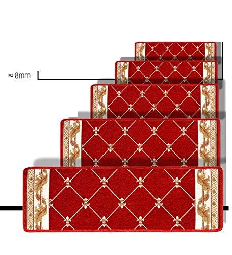 ZENGAI Lot De 5 Marchettes D'escalier Rutschfest Selbstklebend Silikonboden Voller Laden Schritt Bodenmatte Waschbar, 7 Größen Treppen Teppich (Farbe : Red, größe : 100x(26+3) cm)
