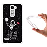 WoowCase LG Ray Hülle, Handyhülle Silikon für [ LG Ray ] Astronaut Herz - I Love to The Moon and Back Handytasche Handy Cover Case Schutzhülle Flexible TPU - Transparent