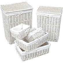 Juego de 6 piezas: Lote de 2 cestas para la colada y 4 cestitas de mimbre BLANCO - Con funda desmontable de algodón color BLANCO.