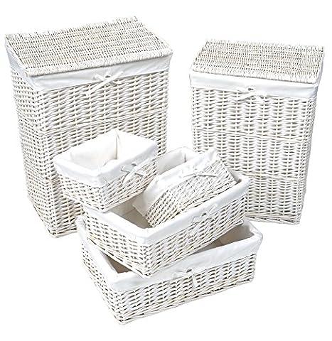 Lot de 6 pièces : Set de 2 coffres à linge et Set de 4 corbeilles en osier BLANC - Housse amovible en coton blanc