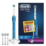 Oral-B Pro 3400 Elektrische Zahnbürste (mit Visueller Andruckkontrolle und 4 Aufsteckbürsten) weiß/blau