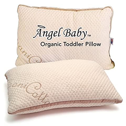 ORGANIC TODDLER PILLOW – Larger Size with Fluffy Cool Fill - Full Neck Sleeping Support for Kids Bedding, Crib, Naps, Travel – 100% Cotton Cover by Angel Baby (pillowcase sold separately)