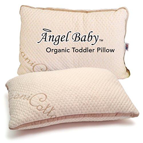 Almohada para niños ORGÁNICA Angel Baby. LIBRE DE TOXINAS por Fresca y con el mejor soporte cervical. USA/Oeko-Tex Certificado de funda de algodón Hopoalergénica 13x18 (la funda se vende por separado)